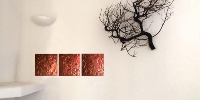 3 Copper, plaster, glue, spray on wood, cm 25 x 25