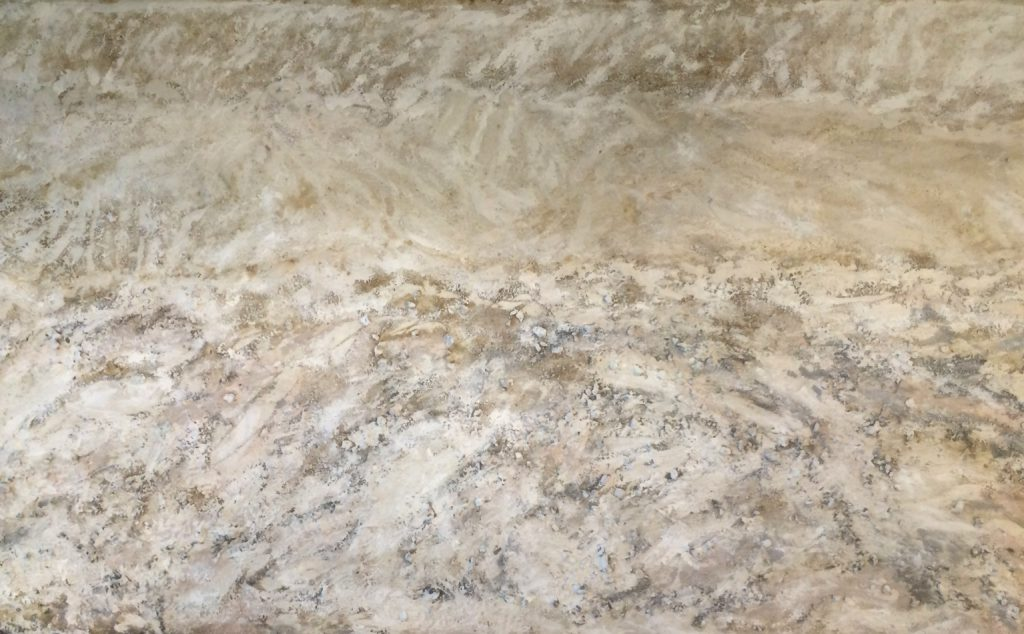 Dust 131, rocks, sand, glue and colors on canvas, 175 x 86 cm